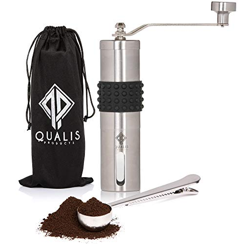 Qualis Manual Coffee Grinder - Portable Hand Crank Coffee Grinder With Adjustable Setting, Conical Burr Mill for Precision Brewing, Brushed Stainless Steel - Perfect For Espresso, French Press, Cold Brew & Pour Over