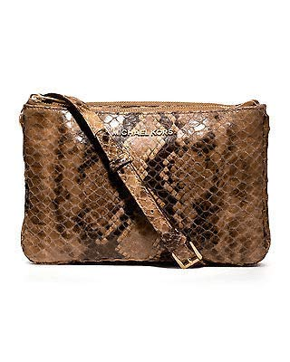 """Michael Kors Bedford Leather Gusset Crossbody Purse Bag Sand Snake NEW 6""""H x 9 1/4""""W x 3 3/4""""D. Imported. Logo at top center. Guaranteed authentic"""