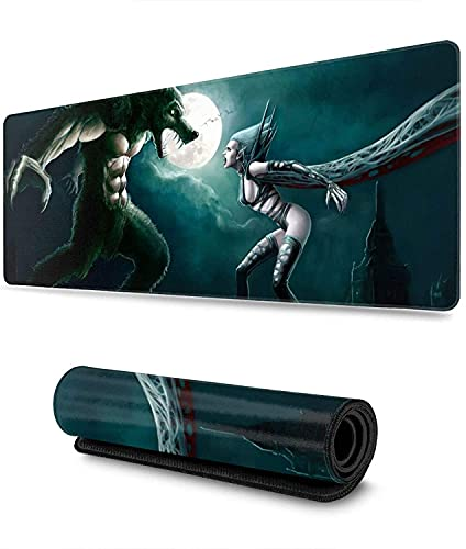 Vampire Werewolf Woman Gaming Mouse Pad XL,Extended Large Mouse Mat Desk Pad, Stitched Edges Mousepad,Long Non-Slip Rubber Base Mice Pad,31.5X11.8 Inch