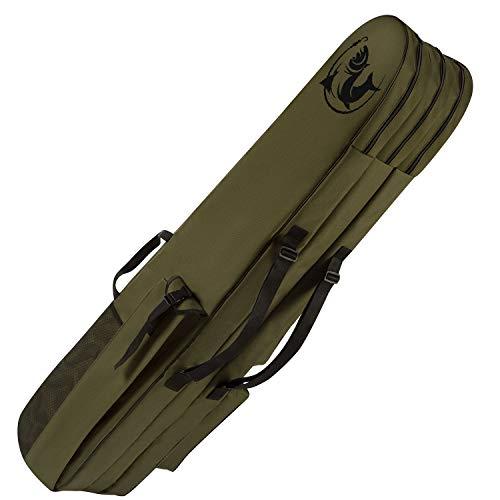 Ferocity Premium Angeltasche 150 cm Rutentasche Rutenfutteral Angelkoffer 3 Kammer Made in EU mit Fischmuster [023]