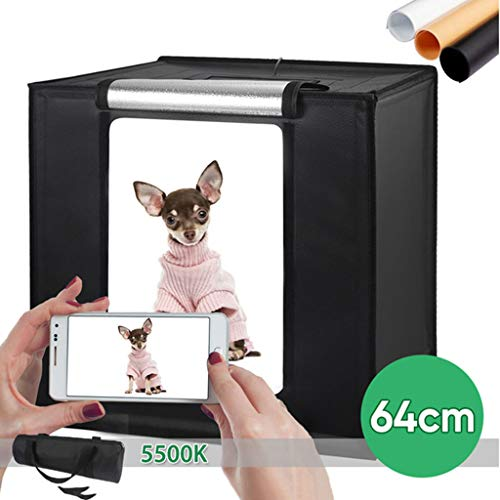 Photo Studio Light Box Color Temperature Adjustable Brightness with 2 LED Lights 4 Colored Backdrops Shooting Tents for Jewellery, Food, Shoes Photography etc,64x64x 64 cm
