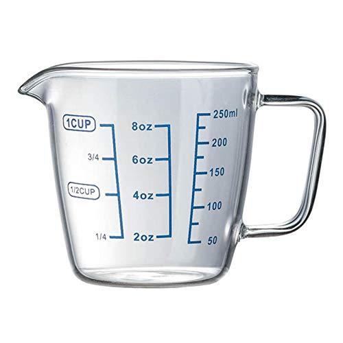 Tings 1PC 250ml Hittebestendige glazen maatbeker Kindermelkbeker met schaal Magnetron Maatbeker Transparante schaalbeker, 500ml