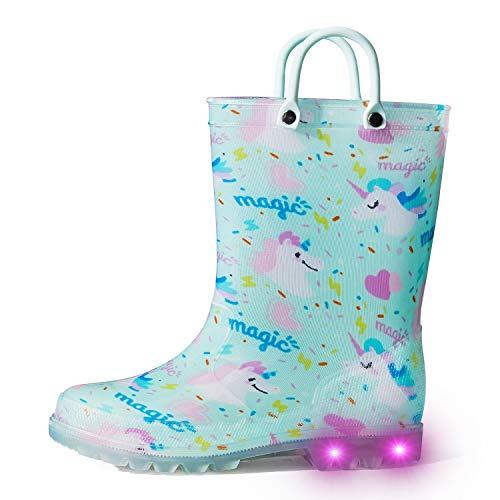 K KomForme Kids Rain Boots, Waterproof Light up Boots with Easy-on Handles B-Magic Unicorn 13