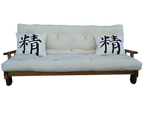 Vivere Zen - Divano Letto in Legno Artigianale con futon - Salice con futon Cotone rilavorato 11 cm
