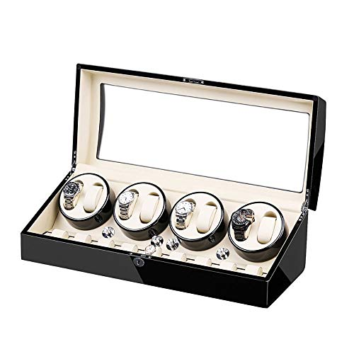 Lllunimon Luxusautomatische Uhrwickelschachtel mit 8 + 9 Schlitzen, Holzschalen-Klavier-Finish, Silent Motor, Flexibles Uhrkissen,B