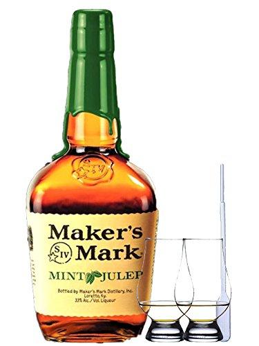 Makers Mark Mint Julep Bourbon Whiskey 1,0 Liter + 2 Glencairn Gläser + Einwegpipette 1 Stück