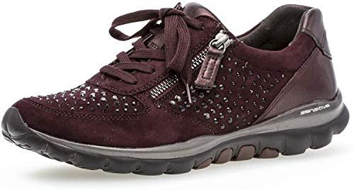 Gabor Damen Low-Top Sneaker 36.968, Frauen Sport-Halbschuh,Halbschuh,Schnürschuh,Strassenschuh,Business,Freizeit,New Merlot(Strass),39 EU / 6 UK