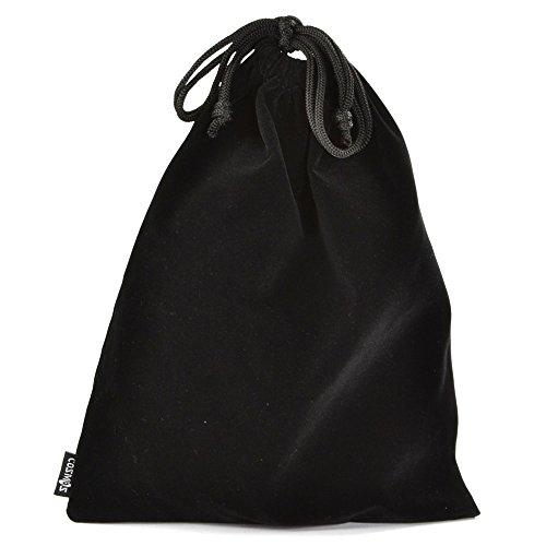 Cosmos Set of 5 Premium Black Travel Carry Drawstring Headphones Pouch Bag