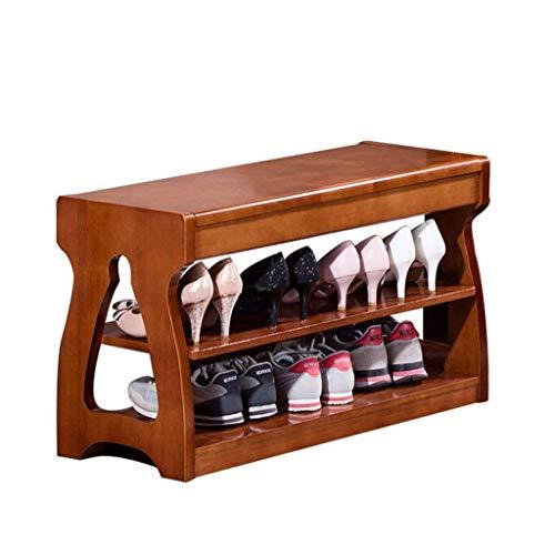 AOIWE Artículos para el hogar modernos simples de doble capa estante de madera taburete zapatos zapatos almacenamiento gabinete estante de almacenamiento de zapatos soporte de zapatos