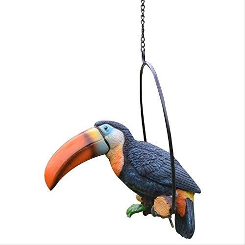 jjyy Hars tuin tuin geschilderd papegaai outdoor grote snavel vogel villa tuindecoratie hanger 18 x 12 x 25cm