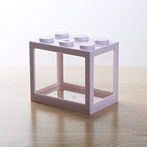 YTG Pet Box Mesa de té decoración del hogar Mini Peces de Acuario Tanque Creativo Multicolor apilables Bloques de Construcción Ecológica pequeño Reptil (Color : 1)