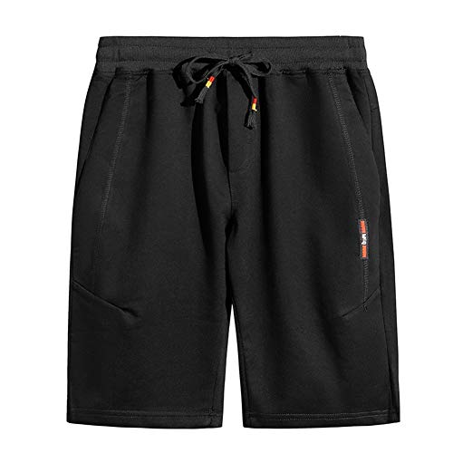 GUNLIRE Big Boy's Summer Casual Cotton Drawstring Elastic Waist Pockets Sports Shorts,Black,12
