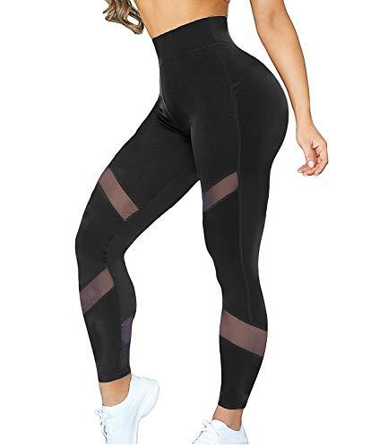 Kiwi-Rata Women Sports Mesh Trouser Gym Workout Fitness Capris Yoga Pant Legging, Black, Medium