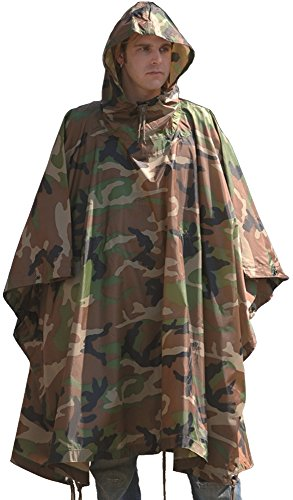 Mil-Tec Ripstop Wet Weather Poncho, Multi-Use Bivouac Sack, Emergency Shelter Tent (WOODLAND CAMO)