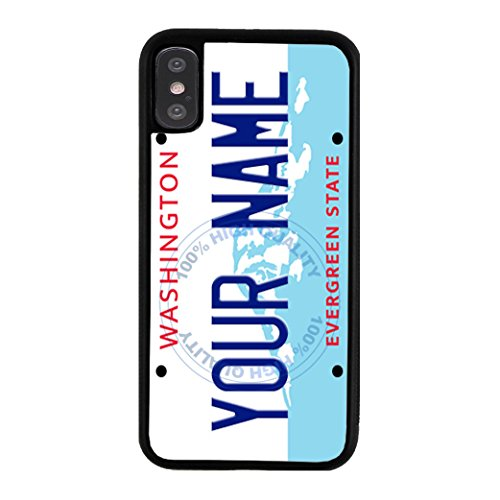 BleuReign Personalized Washington License State Plate Rubber Phone Case for Apple iPhone X Xs Ten