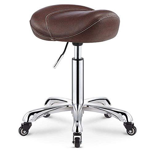 XBSXP Beauty Chair Taburete con Ruedas, Taburete Ajustable en Altura con Asiento de Cuero sintético PU marrón, Altura Ajustable 40-66 cm, Peso soportado 160 Kg, Taburete de Corte de pelu