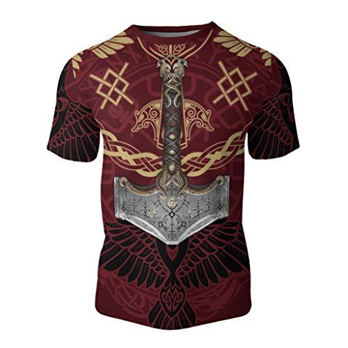 Fandao Camiseta del Tatuaje del Martillo de Thor del Mito de Odin, T Shirt de Manga Corta con Estampado 3D de Lobo Celta Vikingo, Símbolo del Cuervo de la Runa del Cuervo de Dios Nórdico,XS