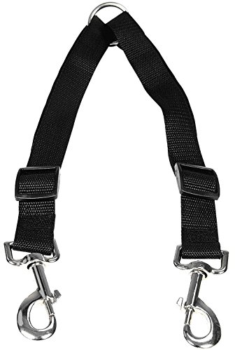 HTKJ No Tangle Dog Leash Coupler, Dual Double Dog Adjustable Splitter Lead for Two Dogs Durable Walker and Trainer Leash 1 X 16-23 Inches