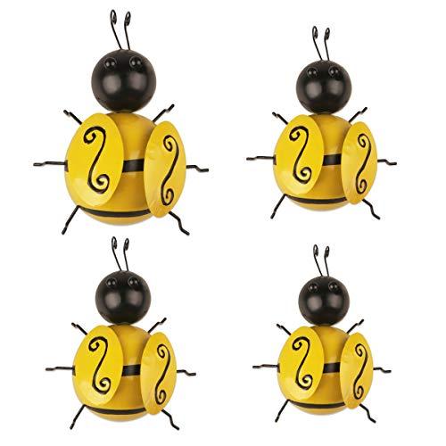 YIYA 4 Uds Metal abeja decoración de pared abeja arte de pared para jardín al aire libre césped vallas decoración Oficina dormitorio sala de estar decoración del hogar