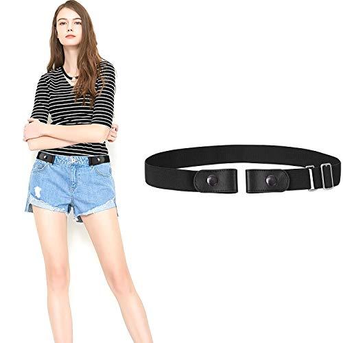 JasGood  Gürtel ohne Schnalle Gürtel Elastischer Unsichtbare Gürtel Dehnbarer Gürtel Praktisch Gürtel für Damen & Herren, S-L: 61cm-92cm(24-36), 2-schwarz
