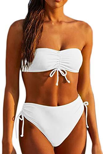 Haloon Women's Ruched Spaghetti Strap Bandeau Swimsuit High Waist Swimwear White M