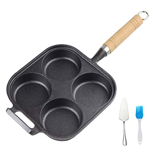 YU-NIYUT 4/6 Holes Omelet Pan for Burger Eggs Ham Pancake Maker Frying Pans Non-Stick Chef Pan for Gas Cooker, Outdoor Cooking, Frying, Grilling