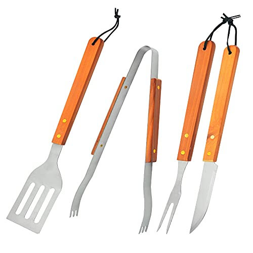 MY GIFT TREE Juego de 4 herramientas de barbacoa personalizadas, espátula, tenedor y cuchillo, utensilios de parrilla de acero inoxidable con asas de madera maciza, regalo para papá, día del padre