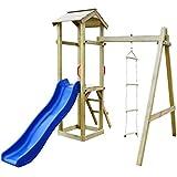 vidaXL Holz Spielturm mit Rutsche Leitern Sandkasten Kletterturm Spielhaus