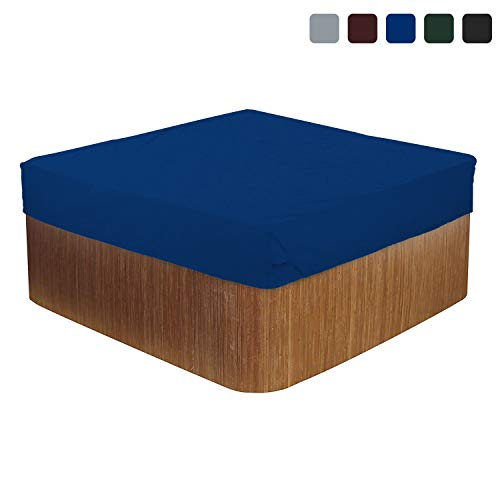 Hot Tub Cover/Spa Cover 18 Oz Waterproof - 100% UV & Weather Resistant Outdoor Cover with Air Pockets and Drawstring for Snug Fit (90 W x 90 D x 14 H, Blue)