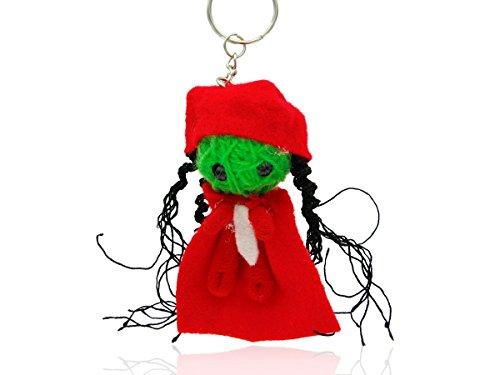 Alsino Voodoo Puppe Püppchen Sorgenpüppchen Voodoopuppe Glücksbringer Voodoll Schlüsselanhänger, wählen:SA-V107 Hexe rot