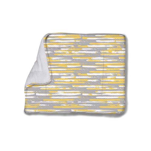 Streifen Abstrakt Gelb und Gra Ultra Weich Warm Haustier Bett Matte mit Niedlichen Drucken Pad Pet Bed Liner Pet Blanket Flauschige Flanell Kissen für Hunde Katzen