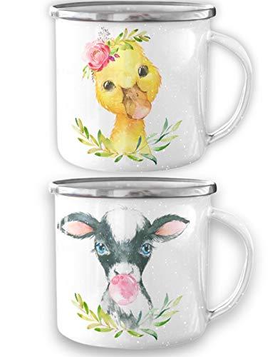 Kaffeestoff Emaille Tassen 2er Set mit Tiermotiv knuffige Ente und Stier | Kaffee Tassen für Paare als lustiges Geschenk im Retro Style | 300 ml Teetasse | Camping Mug und robuster Alltagsheld