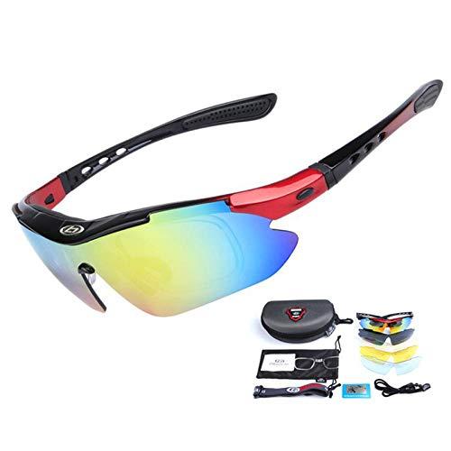 Gafas de Ciclismo Sunglasses 5 Lentes Gafas De Ciclismo Anti-Impacto para Montar Al Aire Libre Gafas De Sol De Bicicleta MTB Uv400 Polarizadas Al Aire Libre Hombres Mujer