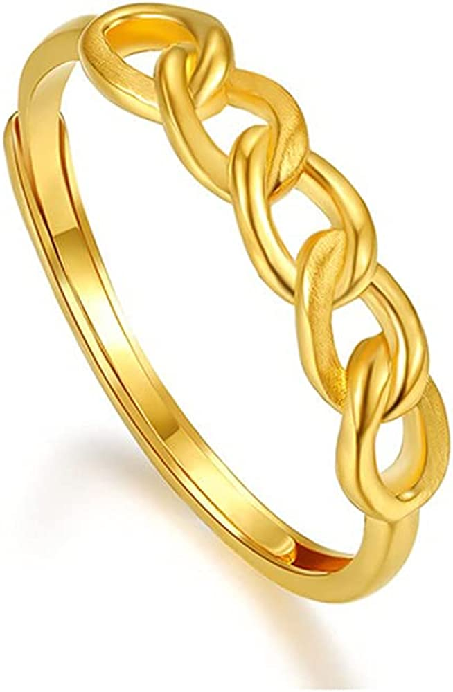 De Lapoll Solid 24K 999 Gold Ring Engagement Wedding Anniversary for Women Ladies