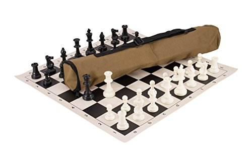 Quiver Chess Set Combination - Triple Weighted - by US Chess Federation (Khaki)