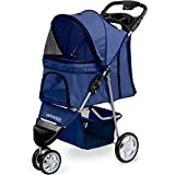 Paws & Pals 3 Wheeler Elite Jogger Pet Stroller Cat/Dog Easy to Walk Folding Travel Carrier