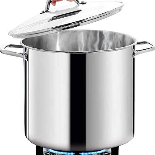 HOMICHEF Commercial Grade LARGE STOCK POT 24 Quart With Lid  Nickel Free Stainless Steel Cookware Stockpot 24 Quart  Healthy Cookware Polished Stockpots  Heavy Duty Induction Pot Soup Pot With Lid
