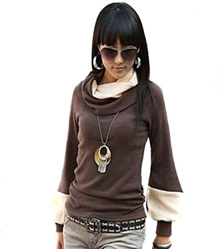 Mississhop Prij Japan Style Damen Bluse Longshirt Tunika Pullover Braun-Ecru S