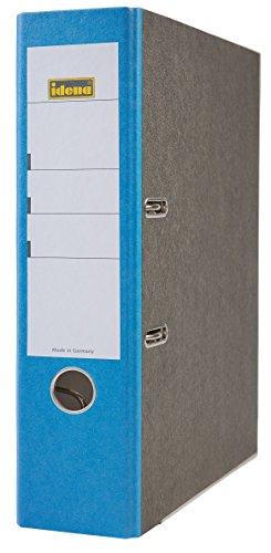 Idena 303061 - Ordner für DIN A4, 8 cm breit, FSC-Mix, Wolkenmarmor, blau, 1 Stück