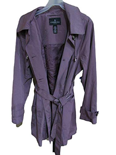 LONDON FOG Women's Single Breasted Belted Trench with Hood in Aurora, XXL