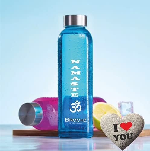 BROCHZ, Botella de Agua de Cristal con Mensajes Positivos, 500 ml, sin BPA, Botella de Agua Reutilizable, con Tapón de Rosca de Acero Inoxidable, Botella de Colores Namaste