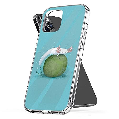 YICHIBAOEL Fundas para teléfono Pure Clear compatibles con iPhone 12/11 Pro MAX 12 Mini SE X/XS MAX XR 8 7 6 10s Plus Case-Axolotl On A Mossball