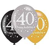 amscan 10022456 40 globos de látex para 40 cumpleaños, color dorado brillante, 6 unidades, 40