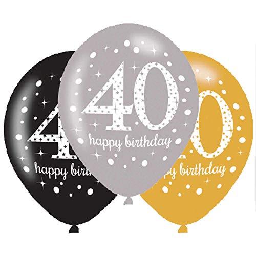 amscan 9900739 6 Ballons 40 Sparkling, Schwarz, Silber, Gold