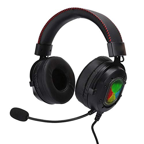 Gaming Headset, K3 bedrade LED-licht koptelefoon, ABS universele hoofdtelefoon over het oor met ruisonderdrukkende microfoon voor PS4/Xbox One/PC/Laptop/PSP/Tablet PC/IOS/Android(Zwart rood)