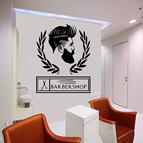 Peluquería Peluquería Estudio Afeitado y corte de pelo Logotipo Signo Hipster Moda Hombre Tijeras Etiqueta de la pared Vinilo Ventana Puerta Etiqueta Decoración para el hogar Mural