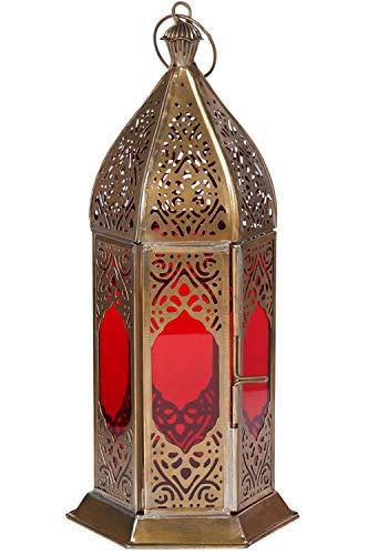 Orientalische Laterne aus Metall & Glas Basma Rot 24cm | orientalisches Windlicht | Marokkanische Glaslaterne für innen | Marokkanisches Gartenwindlicht für draußen als Gartenlaterne