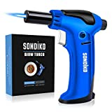 Sondiko Creme Brulee Torch, Butane Torch Refillable One-handed Operation Torch Lighter with Adjustable Flame, Continuously Flame, Vertical heating Mode(Butane Gas Not Included)