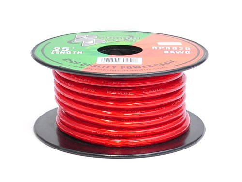 Pyle 8 Gauge Clear Red Power Wire - 25ft. Copper Cable in Spool for Connecting Audio Stereo to Amplifier, Surround Sound System, TV Home Theater and Car Stereo - Pyramid RPR825