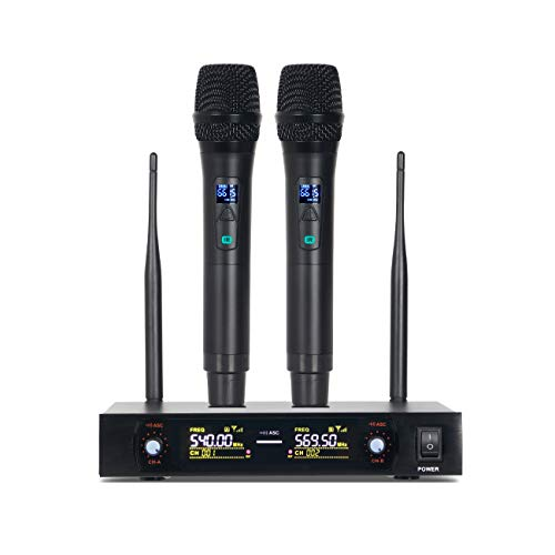 Depusheng UHF Dual Channel Professional Handheld Wireless Microphone System with Dual Wireless Dynamic Microphones for Party, Meeting, Karaoke, Speech
